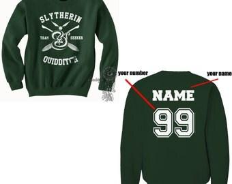 SEEKER - Custom back Slytherin Quidditch team Seeker WHITE print on Forest green Crew neck Sweatshirt