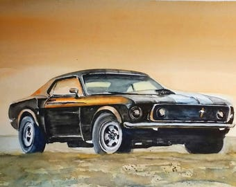Ford Mustang 1967 Shelby  Aquarell Watercolor
