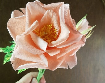 Peach and Orange Crepe Paper Rose/Doublette Crepe Paper Rose