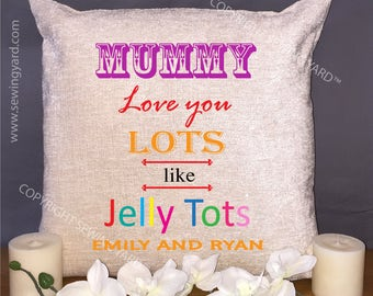 """Luxury Personalised 18"""" Chenille Cushion & Pad Jelly Tots Mothers Day Gift"""