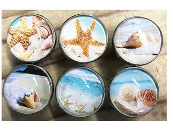 Beach Ocean Themed Decorative Drawer Knobs for Cabinets, Dressers, Doors, Furniture - 6 Pack