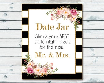 Date Jar Printable Sign, Date Jar, Share Your Best Date Idea For The New Mr And Mrs, Date Night Advice Sign, Wedding Reception Sign
