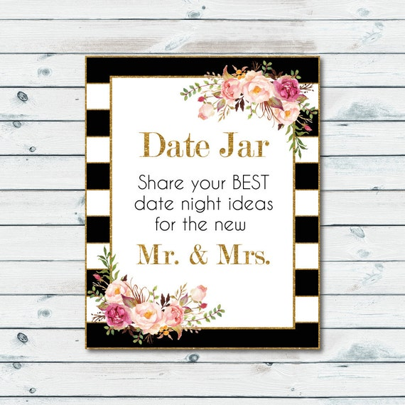 Date Jar Idea Sign And Cards Instant Download Printable: Date Jar Printable Sign Date Jar Share Your Best Date Idea