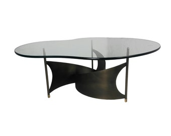 Vintage Mid Century Modern Glass Coffee Table with Propeller Base