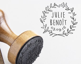 Tampon Mariage Personnalisé Couronne d'Olivier pour un Mariage Champêtre