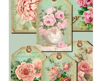 Flower Romance - digital downloads - gift tags - labels - scrapbooking - crafts - Raspberry Hall