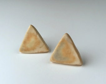 Mustard Yellow Triangle Stud Earrings