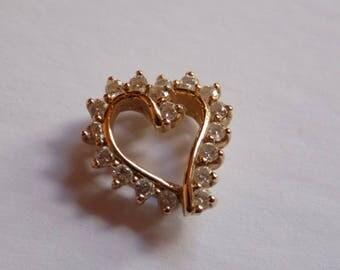 Vintage 14kt Gold Heart Diamond Pendant