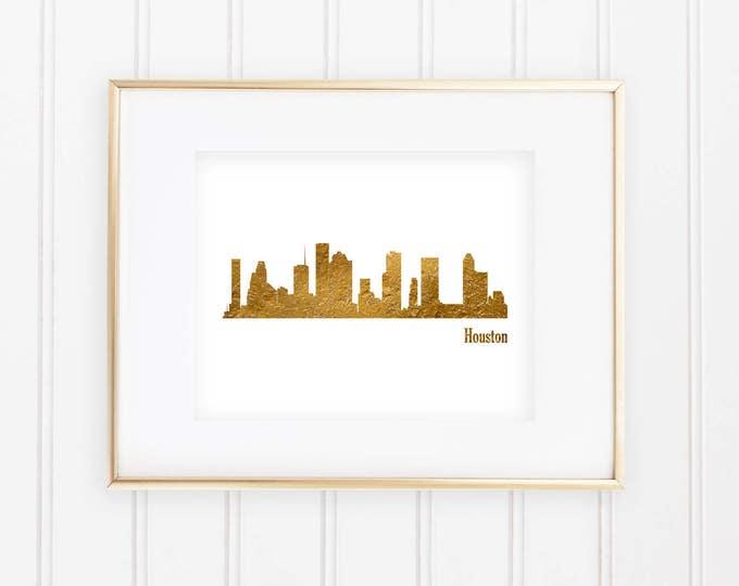 Skyline of Houston - Real Gold Foil Print