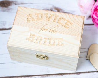 Rustic Wedding Advice for the Bride Box Best Wishes Box Bridal Shower Advice Card Box Rustic Wedding Guest Book Bride and Groom