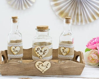 Unity Sand Ceremony Set Nautical Wedding Beach wedding Starfish Jars Personalized Unity Sand Jars nautical Wedding Rustic decoration