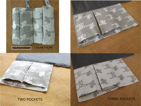 nappy wallet - Nappy Wallet with waterproof Change Mat- nappy bag - diaper clutch - three or two pockets - grey or cream giraffe
