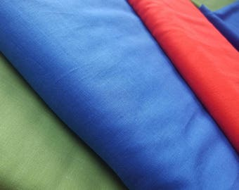 Fine Cotton Lawn Fabric in Royal Blue, Red or Green