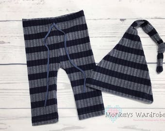 Newborn 'Finley' striped pant and hat set.