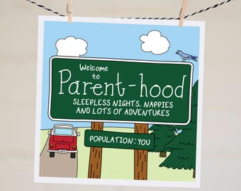 Welcome to Parent-hood Card | Funny New Baby Card | Baby Shower Card | Funny Parenthood Card | Expecting Baby Card | Pregnancy Card | Kombi