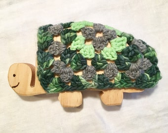 Handmade wooden turtle for pretend play or teether