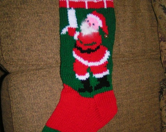 Personalized hand knit Christmas stockings for 2018 angora trim