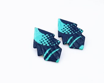Original, light earring, turquoise and black, ethno-chic wax fabrics. Without nickel