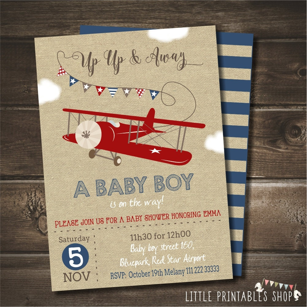 Airplane Baby Shower Invitation With Free By