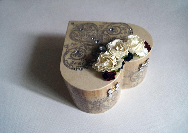 Jewelry box decoupage heart box heart box ring bearer box for Heart ring box