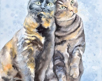 Cat No19 family water color