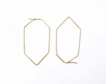 wire long hexagonal hoop earrings