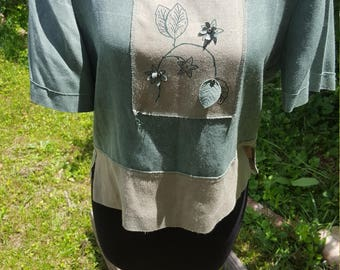 Vintage Teal and Tan Square Top with Leaf Embroidery & Slit Sides
