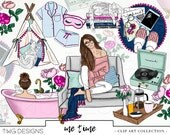 Fashion Girl Clip Art Watercolor Clipart PNG Chill Bath Spa Kitten Room Hand Drawn Babe Illustration Planner Sticker Graphics Basic License