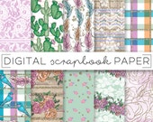 Pink Green Purple Digital Scrapbook Paper Watercolor Gold Glitter Country Lace Plaid Pattern Hand Drawn Doodle Floral Cacti Birds Feathers