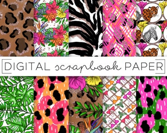 Safari Animal Print Digital Scrapbook Paper Watercolor RoseGold Glitter Abstract Pattern Hand Drawn Doodle Floral Palm Leaf Tropical Foliage