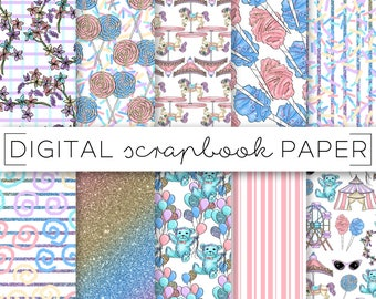 Pastel Candy Carnival Print Digital Scrapbook Paper Watercolor Ombre Glitter Abstract Pattern Hand Drawn Doodle Balloons Teddy Bear Nursery