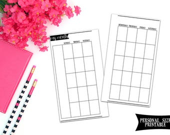 DIGITAL DOWNLOAD - Personal Size Inserts - Undated Month on 2 Page Personal Planner Inserts, Monthly Personal Planner Inserts