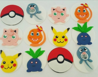 24 x pokemon themed cupcake toppers - birthday party