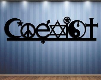 COEXIST - Metal Sign - Steel Sign - Metal Art