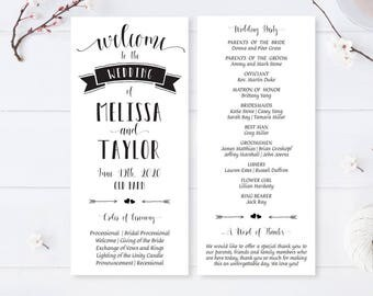 Modern programs for wedding / Cheap wedding programs / Black and white wedding ceremony programs