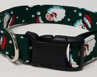 dog collar, cool santa, christmas dog collar, holiday dog collar, christmas collar, holiday collar, santa dog collar, santa collar, santa