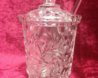 Vintage Crystal Marmalade Jar / Pinwheel Crystal Marmalade Jar / Marmalade-Jam Jar / Jam Pot / Preserves Pot