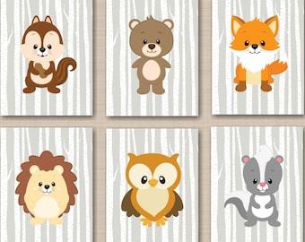 Woodland Nursery Wall Art,Woodland Wall Art,Woodland Nursery Decor,Woodland Gray Birch Fox Bear Owl  Raccoon Chipmunk  Art-UNFRAMED 6 C325