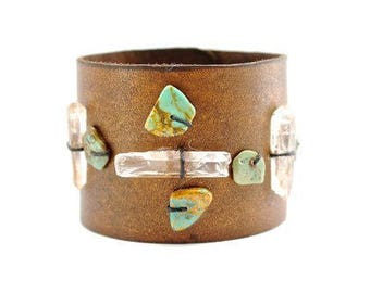 Crystal + Turquoise Cuff