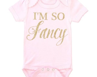 I'm So Fancy | Pink BodySuit with Gold Glitter