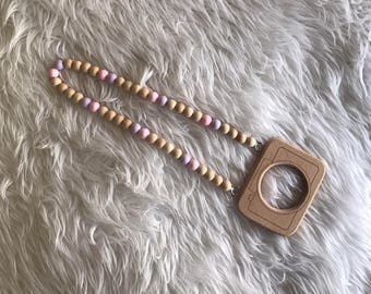 Wooden and silicone camera necklace