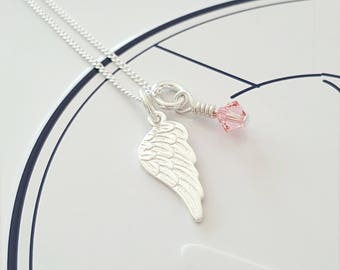 Angel Wing Necklace, Sterling Silver Angel Wing Necklace, Wing Necklace, Angel Wing Charm, Gift For Her, Alexia Jewellery