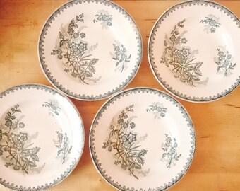 "French Antiques Ironstone (Terre de Fer) Ste Amandinoise (France) dark green transferware flower bowl plates Pattern ""Margot"" (4x plates)"
