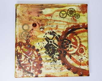 Steampunk clockwork gear - acrylic on canvas - original artwork of 20 x 20 cm yellow orange brown with Strass stones and gears