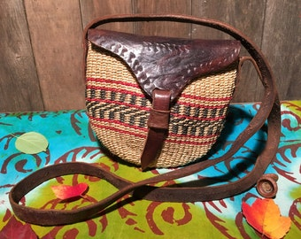 Hand woven Raffia and leather Cross-body Purse