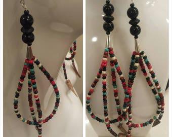 Earrings, long bead earrings