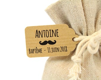 10 labels 2.4 x 4 cm, motif mustache, for your baptism dragees