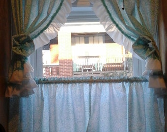 Aqua Kitchen Curtains, Retro Ruffled Two Tier Curtains for One Window