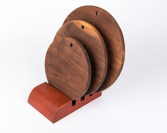 Walnut Cutting Boards with red base