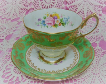 Lovely Vintage Royal Albert Green and Floral Cup & Saucer.
